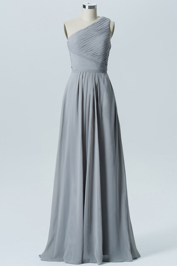 Steel Grey One Shoulder Long Bridesmaid Dresses,Sleeveless Cheap Bridesmaid Gown