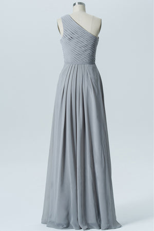 Steel Grey One Shoulder Long Bridesmaid Dresses,Sleeveless Cheap Bridesmaid Gown OMB54