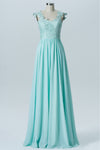 Hint of Mint Capped Sleeve Long Bridesmaid Dresses,Open Back Appliques Cheap Bridesmaid Gown