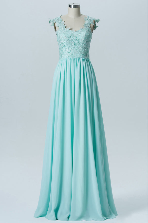 13a723dc9fe Hint of Mint Capped Sleeve Long Bridesmaid Dresses