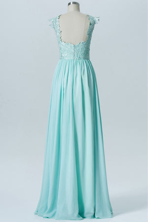 Hint of Mint Capped Sleeve Long Bridesmaid Dresses,Open Back Appliques Cheap Bridesmaid Gown OMB56