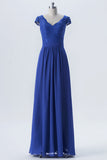 Twilight Blue Capped Sleeve Long Bridesmaid Dresses,V Back Appliques Cheap Bridesmaid Gown