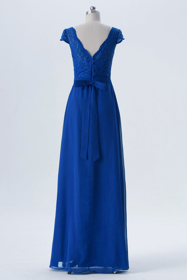 Twilight Blue Capped Sleeve Long Bridesmaid Dresses,V Back Appliques Cheap Bridesmaid Gown OMB57 - Ombreprom