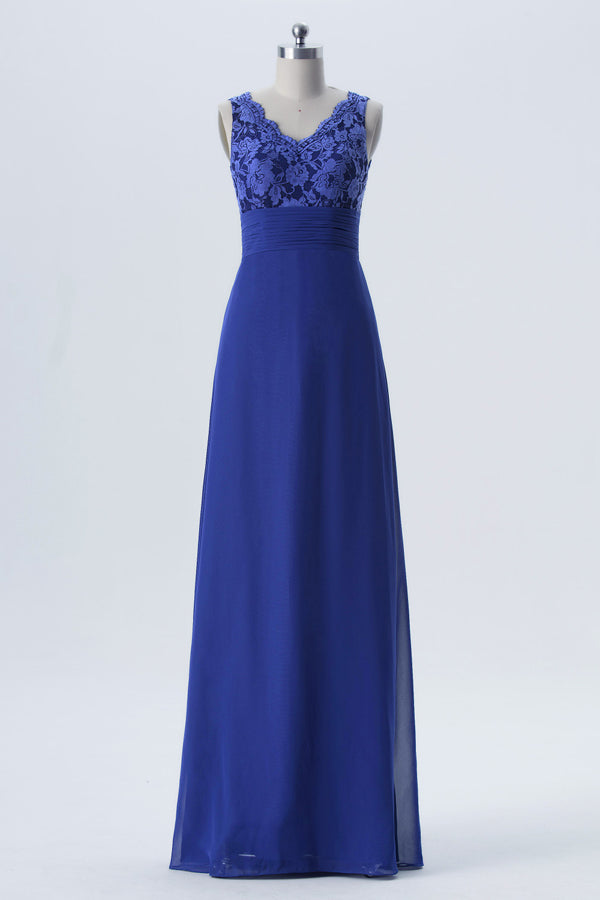 Twilight Blue Sleeveless Long Bridesmaid Dresses,A Line Appliques Cheap Bridesmaid Gown