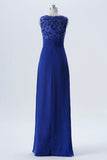 Twilight Blue Sleeveless Long Bridesmaid Dresses,A Line Appliques Cheap Bridesmaid Gown OMB58 - Ombreprom