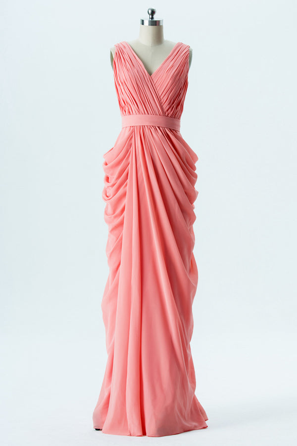 Apricot Blush Sleeveless Long Bridesmaid Dresses,V Neck Cheap Bridesmaid Gown OMB59 - Ombreprom