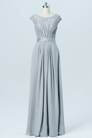 Light Gray Floor Length Bridesmaid Dresses,Capped Sleeve Bridesmaid Gown With Belt
