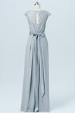 Light Gray Floor Length Bridesmaid Dresses,Capped Sleeve Bridesmaid Gown With Belt OMB06
