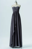 Charcoal Grey Sweetheart Strapless Simple Open Back Long Bridesmaid Dersses OMB60 - Ombreprom