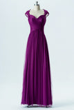 Violet Sweetheart Capped Sleeve Simple Bridesmaid Dresses,Appliques Long Bridesmaid Gowns