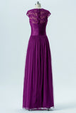 Violet Sweetheart Capped Sleeve Simple Bridesmaid Dresses,Appliques Long Bridesmaid Gowns OMB61