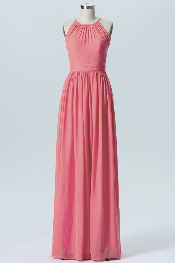 Dusty Coral Halter Simple Bridesmaid Dresses,Sleeveless Long Bridesmaid Gowns