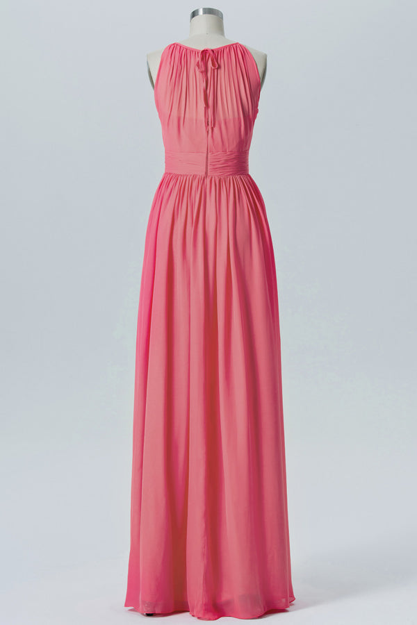 Dusty Coral Halter Simple Bridesmaid Dresses,Sleeveless Long Bridesmaid Gowns OMB64
