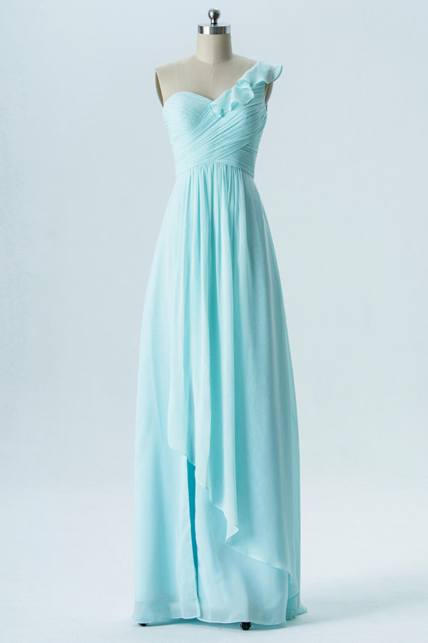 Mint Green One Shoulder Simple Bridesmaid Dresses,Sleeveless Long Bridesmaid Gowns