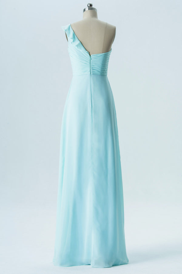 Light Blue One Shoulder Simple Bridesmaid Dresses,Sleeveless Long Bridesmaid Gowns OMB65
