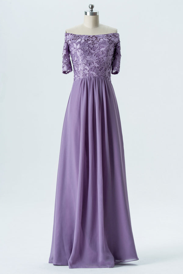 Lavender Grey Off Shoulder Bridesmaid Dresses,Short Sleeve Appliques Long Bridesmaid Gowns