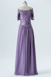 Lavender Grey Off Shoulder Bridesmaid Dresses,Short Sleeve Appliques Long Bridesmaid Gowns OMB66