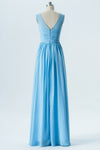 Cashmere Blue Sheer Cheap Bridesmaid Dresses,Sleeveless Long Bridesmaid Gowns OMB67 - Ombreprom