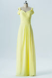 Yellow Sweetheart Cheap Bridesmaid Dresses,Off Shoulder Open Back Long Bridesmaid Gowns