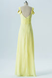 Yellow Sweetheart Cheap Bridesmaid Dresses,Off Shoulder Open Back Long Bridesmaid Gowns OMB68 - Ombreprom