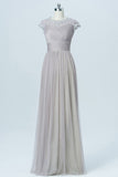 Light Gray Floor Length Bridesmaid Dresses,Capped Sleeve Lace Appliques Bridesmaid Gown