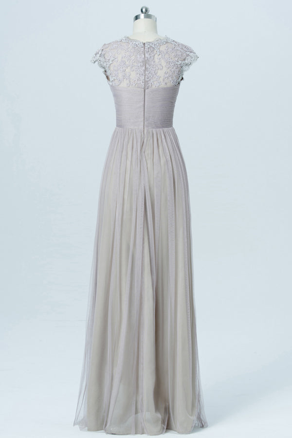 Light Gray Floor Length Bridesmaid Dresses,Capped Sleeve Lace Appliques Bridesmaid Gown OMB07