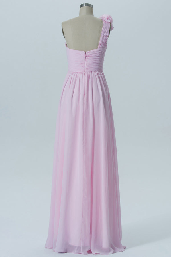 Barely Pink One Shoulder Long Bridesmaid Dresses,Sleeveless Open Back Cheap Bridesmaid Gowns OMB70 - Ombreprom