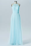 Pastel Blue Halter Long Bridesmaid Dresses,Sleeveless Sheer Back Cheap Bridesmaid Gowns