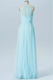 Pastel Blue Halter Long Bridesmaid Dresses,Sleeveless Sheer Back Cheap Bridesmaid Gowns OMB71 - Ombreprom