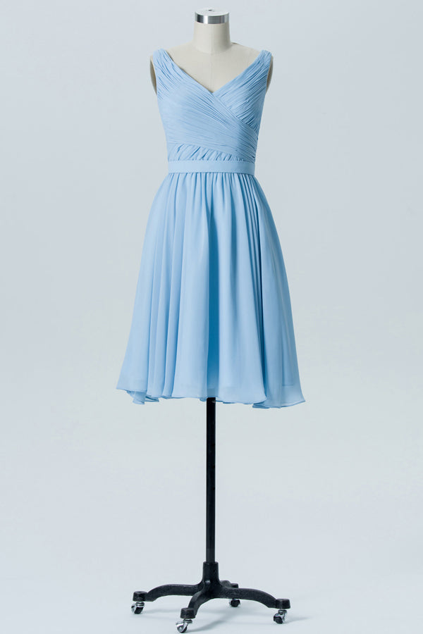 Cashmere Blue V Neck Short Bridesmaid Dresses,Sleeveless V Back Cheap Bridesmaid Gowns OMB72 - Ombreprom