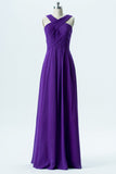 Royal Purple X Neck Long Bridesmaid Dresses,Sleeveless Open Back Cheap Bridesmaid Gowns