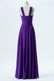Royal Purple X Neck Long Bridesmaid Dresses,Sleeveless Open Back Cheap Bridesmaid Gowns OMB73 - Ombreprom