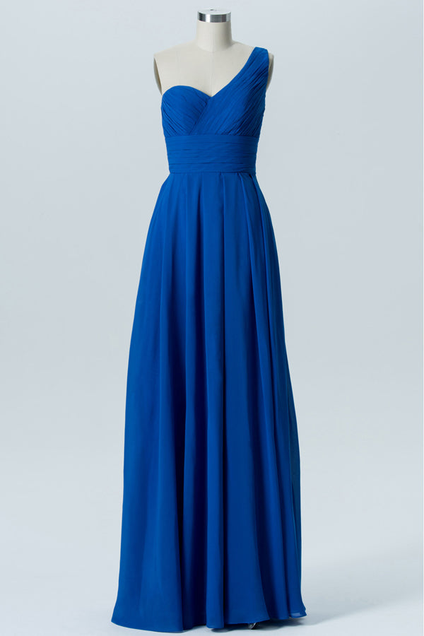 Blue One Shoulder Long Bridesmaid Dresses,Sleeveless Open Back Cheap Bridesmaid Gowns OMB74 - Ombreprom
