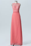 Dusty Coral Sheer Long Bridesmaid Dresses,Sleeveless Deep V Back Appliques Bridesmaid Gowns