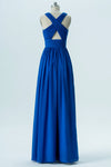 Blue V Neck Long Bridesmaid Dresses,Sleeveless X Back Appliques Bridesmaid Gowns OMB76 - Ombreprom
