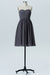 Charcoal Grey Sweetheart Strapless Short Bridesmaid Dresses,Open Back Bridesmaid Gowns OMB77