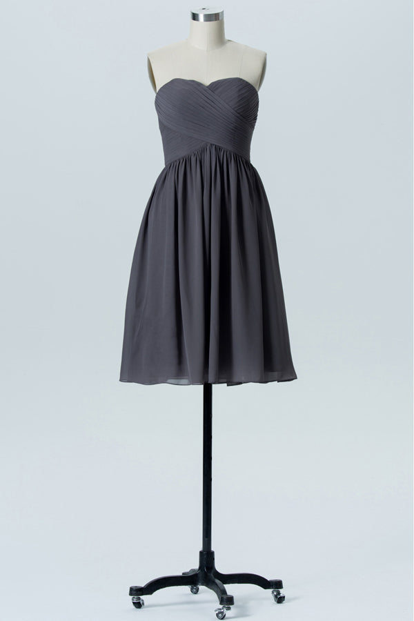 Charcoal Grey Sweetheart Strapless Short Bridesmaid Dresses,Open Back Bridesmaid Gowns OMB77 - Ombreprom