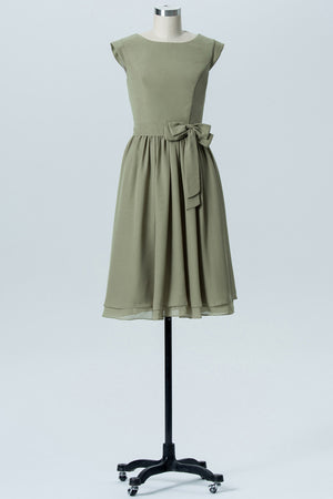 Pale Moss Green Capped Sleeve Short Bridesmaid Dresses,Bowknot Cheap Bridesmaid Gowns