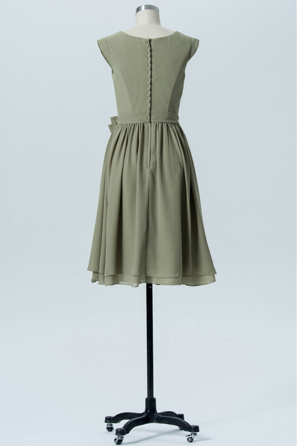 Pale Moss Green Capped Sleeve Short Bridesmaid Dresses,Bowknot Cheap Bridesmaid Gowns OMB78 - Ombreprom