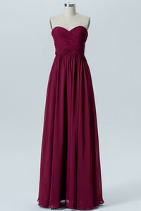 Deep Claret Sweetheart Long Bridesmaid Dresses,Sleeveless Mid Back Appliques Bridesmaid Gowns OMB79 - Ombreprom
