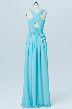 Blue Deep V Neck Floor Length Bridesmaid Dresses,X Back Bridesmaid Gown OMB08 - Ombreprom
