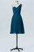 Winter Teal One Shoulder Short Bridesmaid Dresses,Open Back Cheap Bridesmaid Gowns OMB80