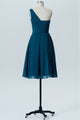Winter Teal One Shoulder Short Bridesmaid Dresses,Open Back Cheap Bridesmaid Gowns OMB80 - Ombreprom
