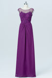 Vintage Violet Sheer Floor Length Bridesmaid Dresses,V Back Sequins Beading Bridesmaid Gown
