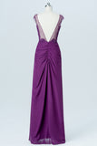 Vintage Violet Sheer Floor Length Bridesmaid Dresses,V Back Sequins Beading Bridesmaid Gown OMB09