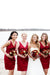 Burgundy Sheath/Column V-neck Knee Length Satin Bridesmaid Dresses B354