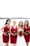 Burgundy Sheath/Column V-neck Knee Length Satin Bridesmaid Dresses B354 - Ombreprom
