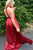 Cheap Pleated Red A-Line V-Neck Back Twist Satin Bridesmaid Dress, B355 - Ombreprom