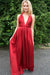 Cheap Pleated Red A-Line V-Neck Back Twist Satin Bridesmaid Dress, B355