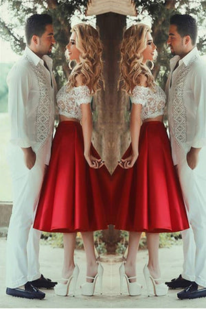 9ecc84754dfb Red Off-Shoulder Two Piece White Lace Short Prom Dresses